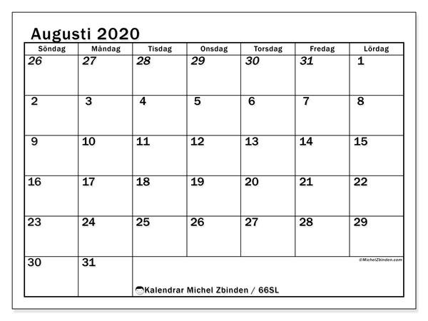 Kalender augusti 2020, 66SL. Almanak för att skriva ut gratis.