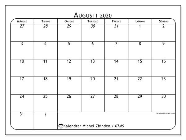 Kalender augusti 2020, 67MS. Kalender för gratis utskrift.