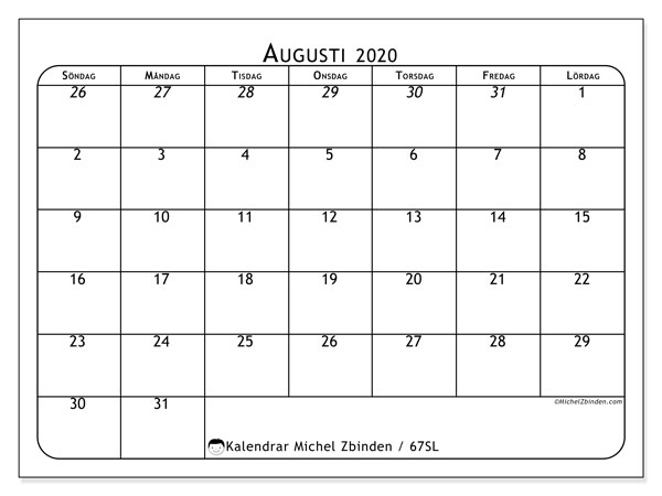 Kalender augusti 2020, 67SL. Gratis utskrivbara kalender.