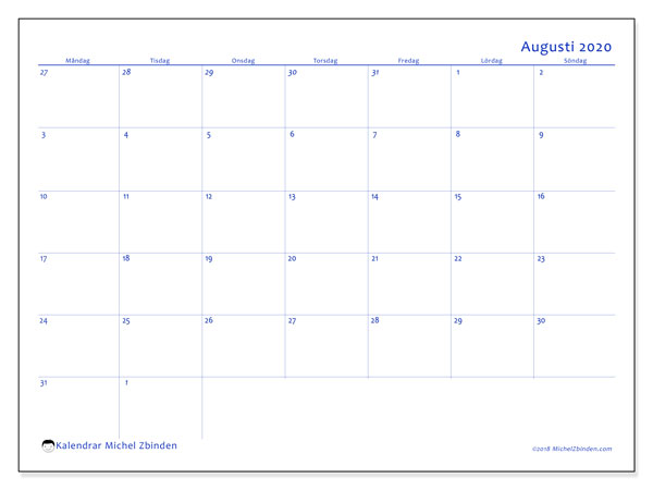 Kalender augusti 2020, 73MS. Gratis utskrivbara kalender.