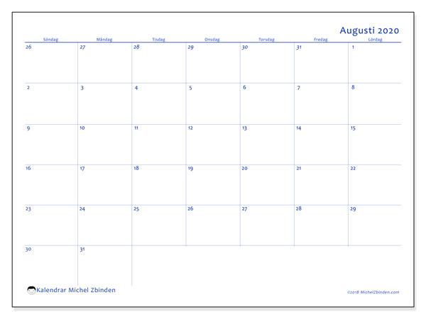 Kalender augusti 2020, 73SL. Månadskalender för att skriva ut gratis.