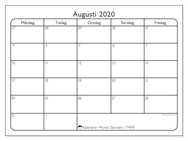 Kalender augusti 2020, 74MS. Gratis kalender att skriva ut.