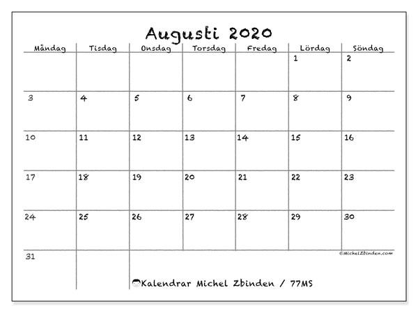 Kalender augusti 2020, 77MS. Gratis utskrivbara kalender.