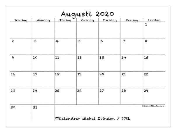 Kalender augusti 2020, 77SL. Kalender för att skriva ut gratis.