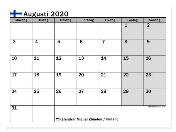 Kalender augusti 2020, med semester i Finland. Kalender för gratis utskrift med helgdagar.