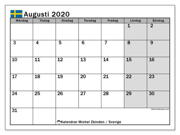 Kalender augusti 2020, med semester i Sverige. Kalender för gratis utskrift med helgdagar.