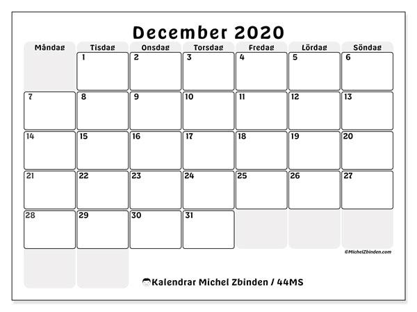 Kalender december 2020, 44MS. Kalender för gratis utskrift.