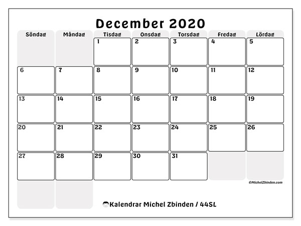 Kalender december 2020, 44SL. Schema för att skriva ut gratis.