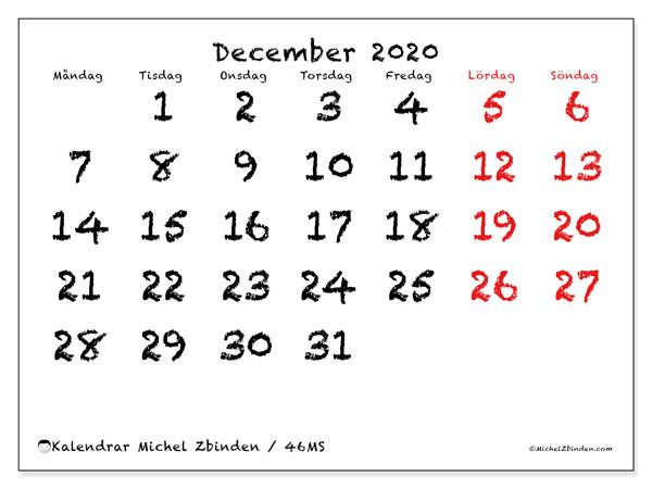 Kalender december 2020, 46MS. Månadskalender för att skriva ut gratis.