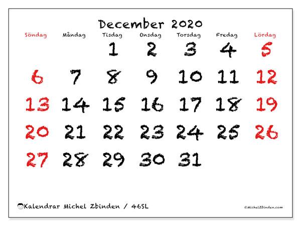 Kalender december 2020, 46SL. Månadskalender för att skriva ut gratis.