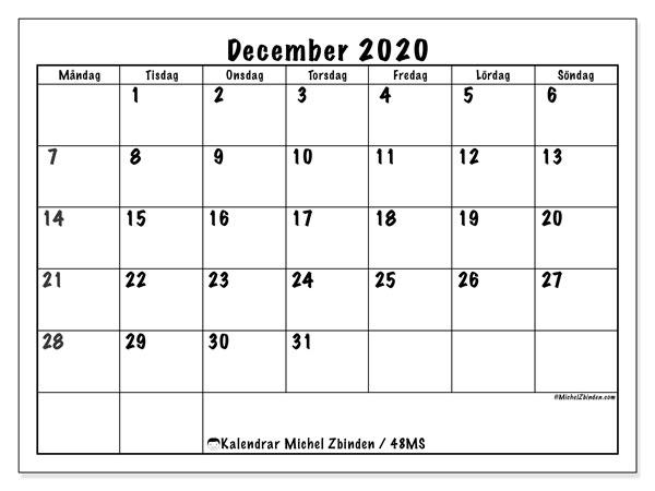 Kalender december 2020, 48MS. Kalender för att skriva ut gratis.