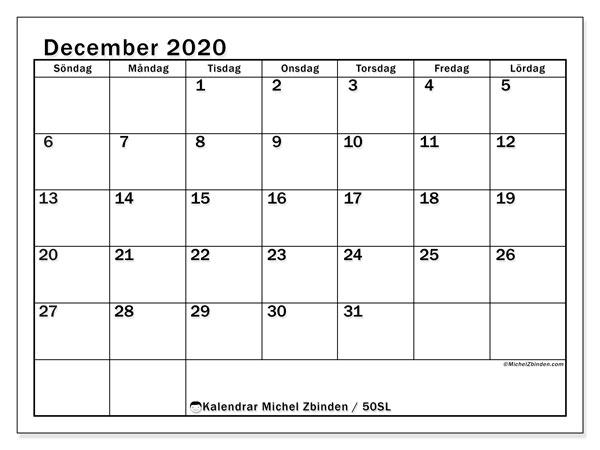 Kalender december 2020, 50SL. Kalender för gratis utskrift.