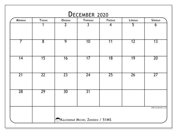 Kalender december 2020, 51MS. Månadskalender för att skriva ut gratis.
