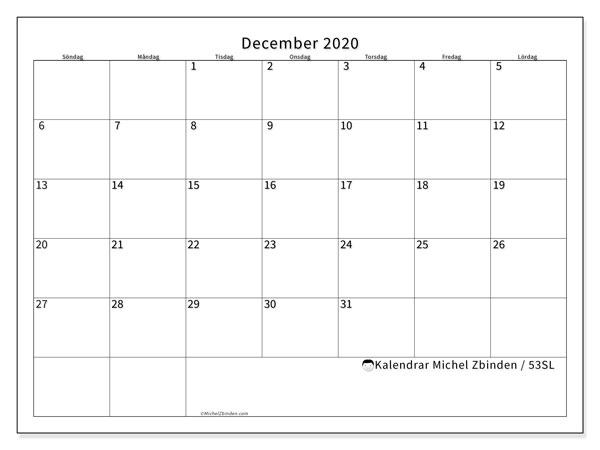 Kalender december 2020, 53SL. Gratis utskrivbara kalender.