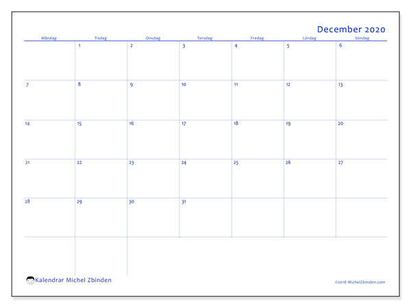 Kalender december 2020, 55MS. Kalender för året att skriva ut gratis.