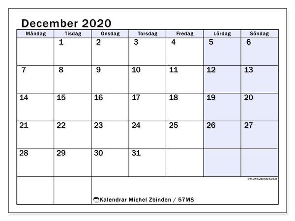 Kalender december 2020, 57MS. Kalender för gratis utskrift.