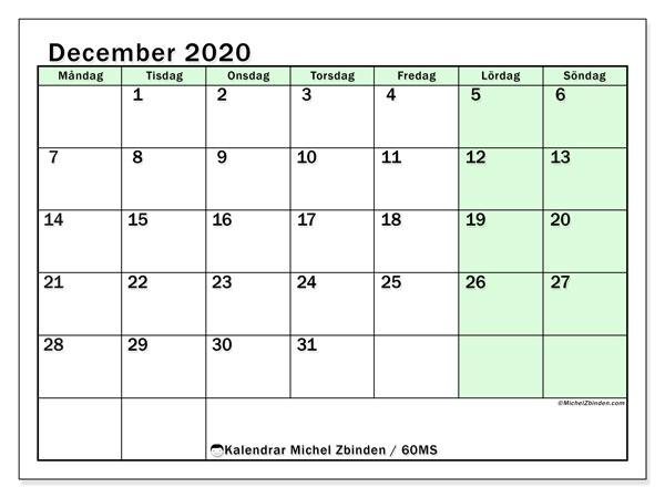 Kalender december 2020, 60MS. Schema för att skriva ut gratis.