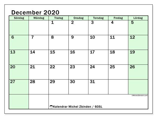 Kalender december 2020, 60SL. Schema för att skriva ut gratis.