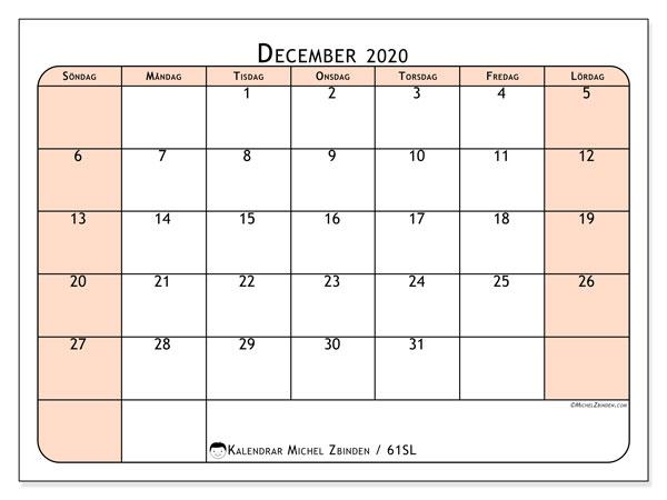 Kalender december 2020, 61SL. Schema för att skriva ut gratis.
