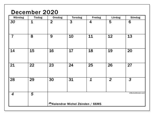 Kalender december 2020, 66MS. Kalender för att skriva ut gratis.