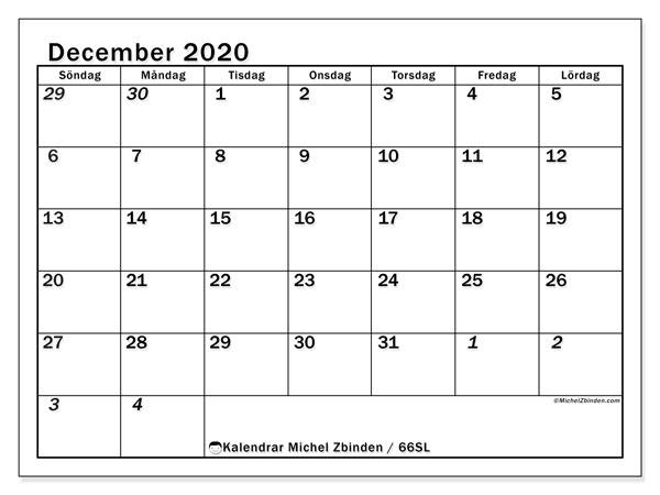 Kalender december 2020, 66SL. Kalender för gratis utskrift.