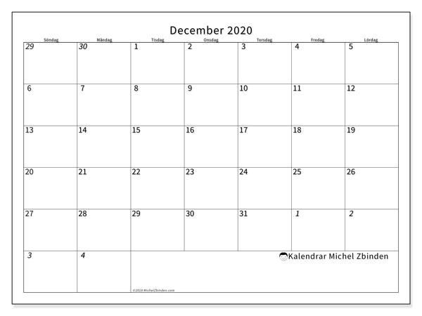 Kalender december 2020, 70SL. Gratis kalender att skriva ut.