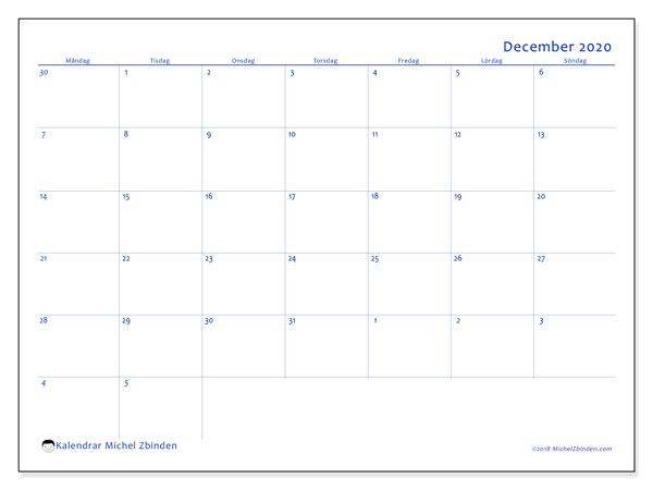 Kalender december 2020, 73MS. Gratis kalender att skriva ut.