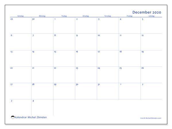 Kalender december 2020, 73SL. Gratis utskrivbara kalender.