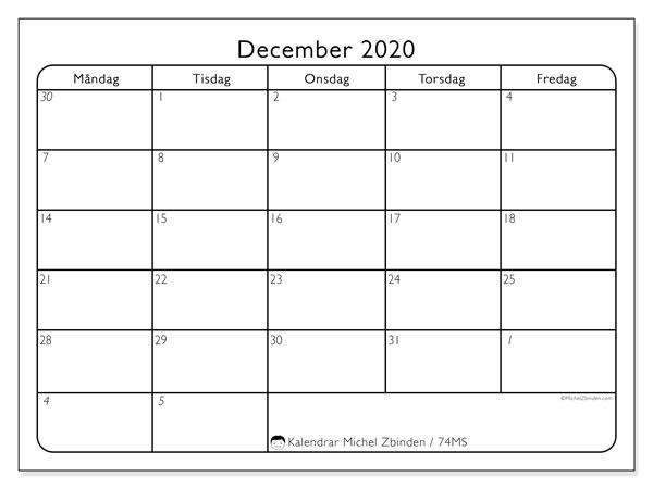 Kalender december 2020, 74MS. Kalender för året att skriva ut gratis.