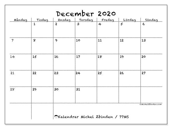 Kalender december 2020, 77MS. Månadskalender för att skriva ut gratis.