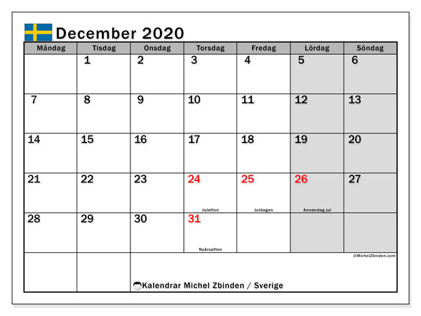 Kalender december 2020, med helgdagar i sverige. Gratis kalender att skriva ut.