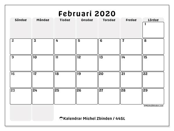 Kalender februari 2020, 44SL. Almanak för att skriva ut gratis.