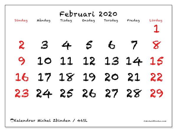 Kalender februari 2020, 46SL. Gratis utskrivbara kalender.