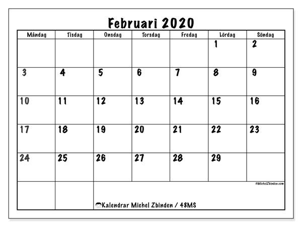 Kalender februari 2020, 48MS. Schema för att skriva ut gratis.