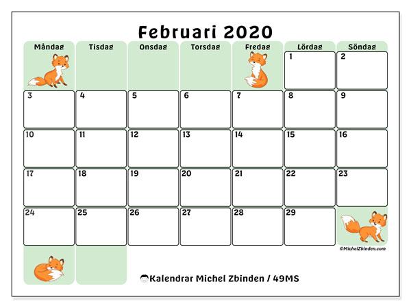 Kalender februari 2020, 49MS. Schema för att skriva ut gratis.