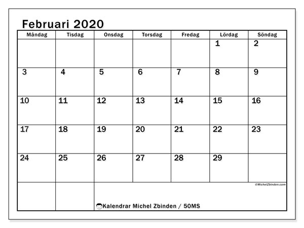 Kalender februari 2020, 50MS. Gratis kalender att skriva ut.