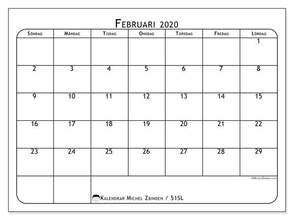 Kalender februari 2020, 51SL. Gratis utskrivbara kalender.