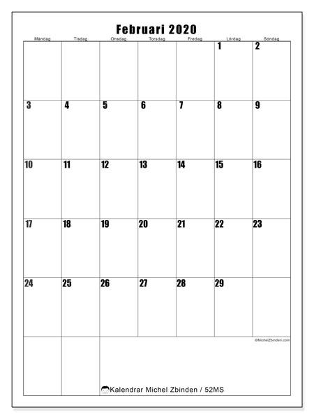 Kalender februari 2020, 52MS. Schema för att skriva ut gratis.