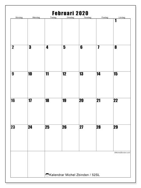 Kalender februari 2020, 52SL. Almanak för att skriva ut gratis.