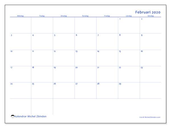 Kalender februari 2020, 55MS. Gratis utskrivbara kalender.
