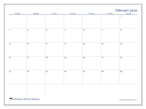 Kalender februari 2020, 55SL. Kalender för att skriva ut gratis.