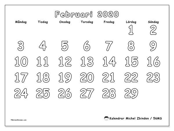 Kalender februari 2020, 56MS. Månadskalender för att skriva ut gratis.