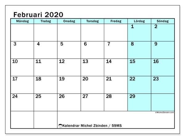 Kalender februari 2020, 59MS. Kalender för året att skriva ut gratis.