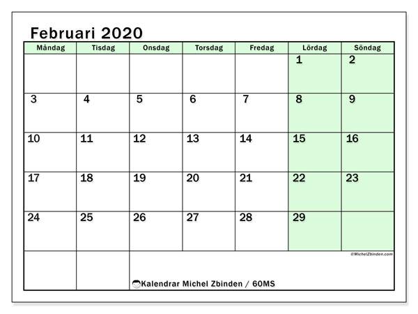 Kalender februari 2020, 60MS. Kalender för året att skriva ut gratis.