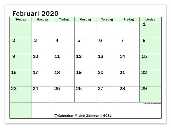 Kalender februari 2020, 60SL. Kalender för att skriva ut gratis.