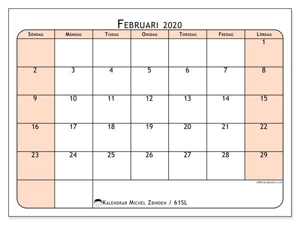 Kalender februari 2020, 61SL. Kalender för att skriva ut gratis.
