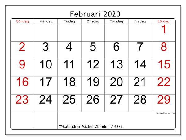 Kalender februari 2020, 62SL. Månadskalender för att skriva ut gratis.