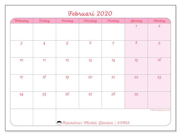 Kalender februari 2020, 63MS. Kalender för gratis utskrift.