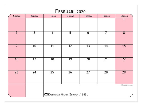Kalender februari 2020, 64SL. Schema för att skriva ut gratis.