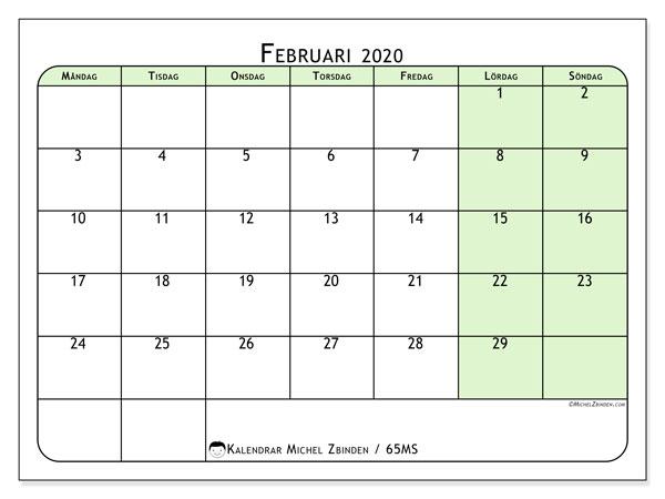 Kalender februari 2020, 65MS. Schema för att skriva ut gratis.